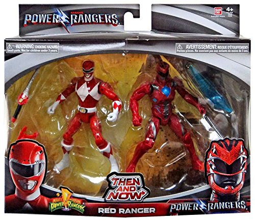 Saban's Power Rangers Then and Now Red Ranger Action Figure Set (Mighty Morphin Power Ranger Helmet)
