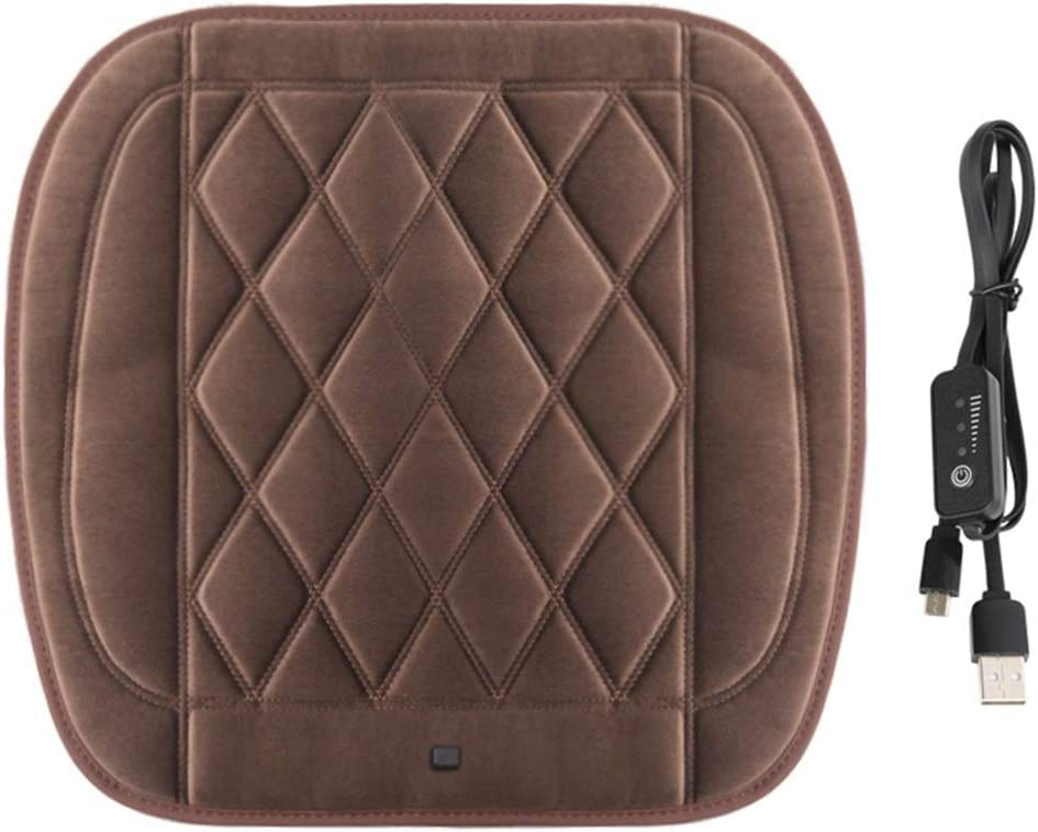 Heated Car Seat Cushion Cover LIXIONG Graphene Electricity Heating Pad 12V DC Charger Car Winter Warmer Protector Cushion,2 Style (Color : Brown, Size : B)