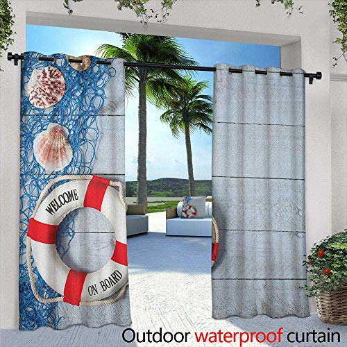 LOVEEO Buoy Outdoor Curtains Welcome on Board Message on Lifebuoy with Fishing Net Seashell Wood Floor of Boat Waterproof Patio Door Panel 72