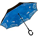 LifeHax Double Layer Inverted/Reverse Folding Umbrella | Windproof, Waterproof, UV Protection | C-Shaped Hands Free Handle | Self Standing Inside Out Drip Free