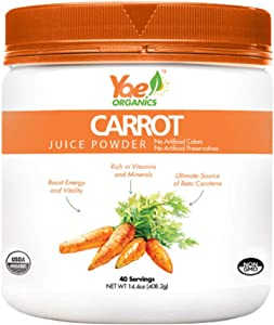 Yae! Organics 100% Pure Organic Carrot Juice Powder, Healthy Nutrition with Minerals and Powerful antioxidants, Vegetable Superfood Supplement for Drinks (14.4oz/40 Servings)