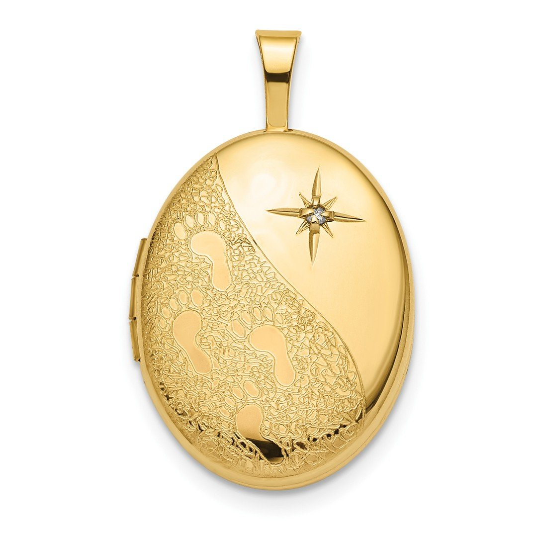 ICE CARATS 14k Yellow Gold 16mm Diamond Footprints Oval Photo Pendant Charm Locket Chain Necklace That Holds Pictures Inspiration Fine Jewelry Gift Set For Women Heart