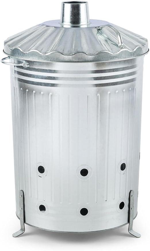 Waldbeck Rapidfire Contenedor para Quemar residuos 90 litros (incinerador de Basura para jardín, galvanizado, Sencillo manejo) - Plateado: Amazon.es: Jardín