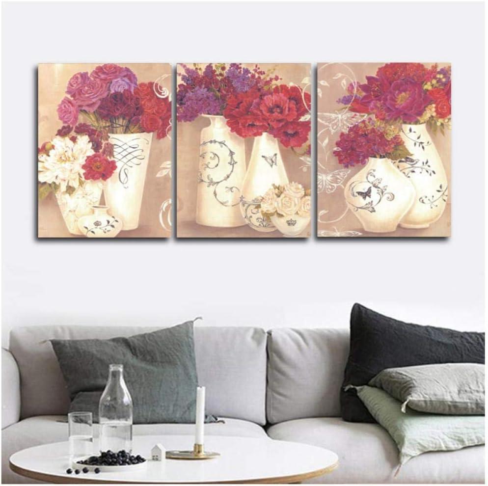 Flores y porcelana cuadros de pared póster impresión lienzo pintura decoración para sala de estar dormitorio decoración del hogar-50x70cmx3 sin marco