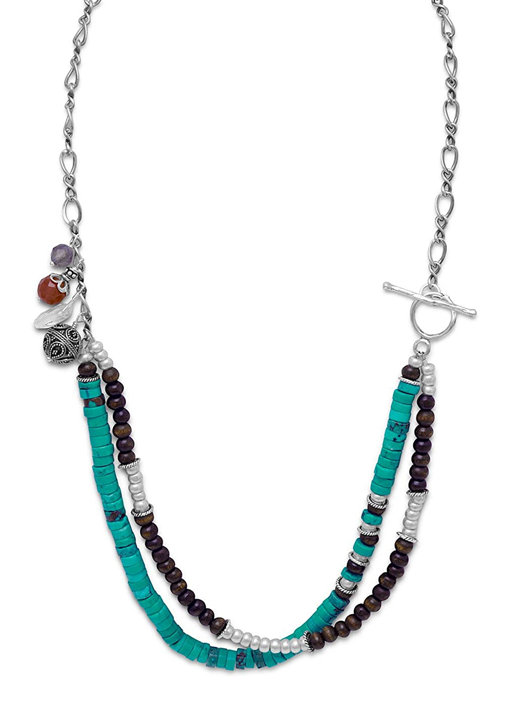 21 inch Sterling Toggle Necklace 6.5mm Turquoise//Labradorite//Carnelian//Quartz//Glass//Wood