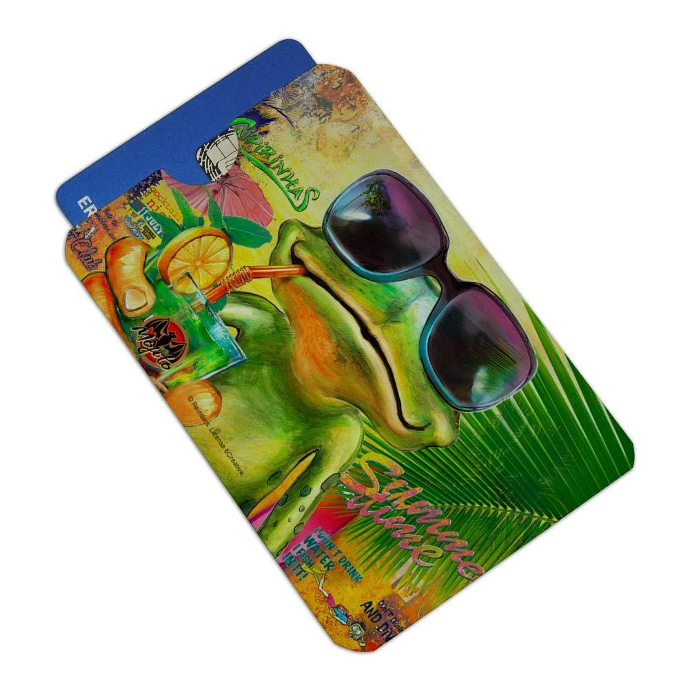 Summertime Vacation Frog Credit Card RFID Blocker Holder Protector Wallet Purse Sleeves Set of 4