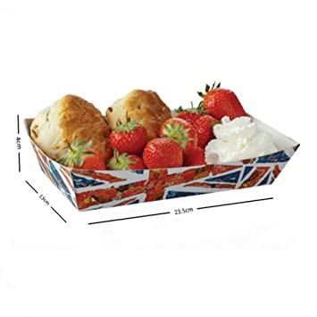 Fast Food take away desechables caliente perro/Chip/pie/Baguette para bandeja grande y pequeño 250 Union Jack Small Open Tray: Amazon.es: Hogar