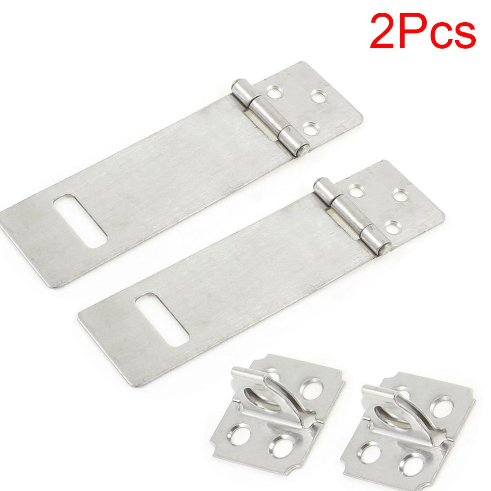 LDEXIN 2pcs Zinc Plated Padlock Safety Door Hasp Staple Gate Bolt Latch Eye Mount Lockking Hasp (4inch)