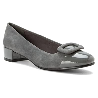 David Tate Women's Retro Dress Pumps, Grey Suede, Patent Leather, ...