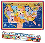 eeBoo Laminated United States USA Map Poster for Kids