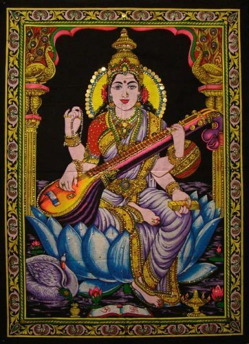 Goddess Saraswati Cotton Tapestry