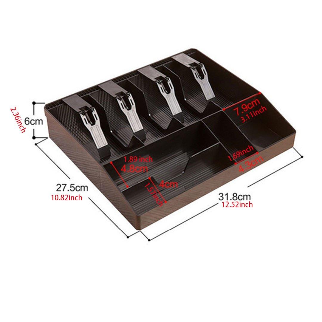 supermercato centro commerciale vassoio di plastica nero Cassetto cassa per registratore di cassa 12.67x9.65x1.37 inch accessori per registratori di cassa