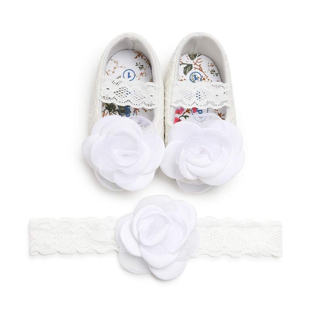 Kimanli Baby Girls Rose Lace Fashion Cuty Toddler First Walkers Kid Shoes with Hairband