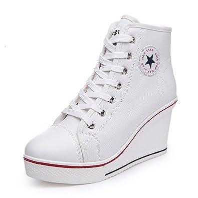 Femme Chaussure de Mode Compensée Sneakers Loisir Basket Haute de Talon  Textile Moderne Montante Wedge 8 b5f51f318e25