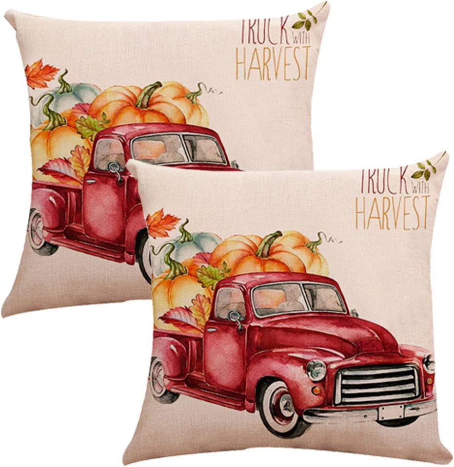 DiDiQS 18x18 Pillow Covers,Lumbar Pillow Covers Cotton Linen Decorative Throw Pillow Covers for Sofa Couch Decoration,Orange Set of 2 18x18 Inch 45x45cm 18x18 Pack of 2, Red