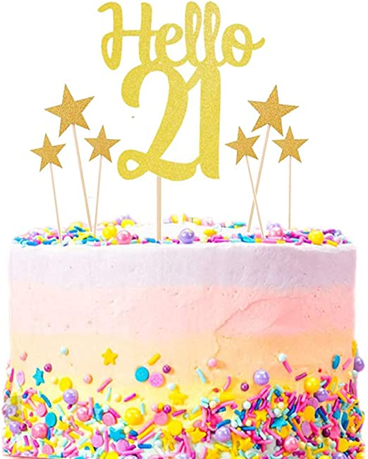 Pleasant Amazon Com Aoyojo Happy 21St Birthday Cake Topper Kit Gold Funny Birthday Cards Online Alyptdamsfinfo