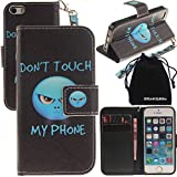 DRUnKQUEEn iPhone SE Case, iPhone 5s Case, Wallet Purse Type Leather Credit Cards Case with Cellphone Holder Flip Cover for Apple iPhoneSE iPhone5S - Hand Strap Included