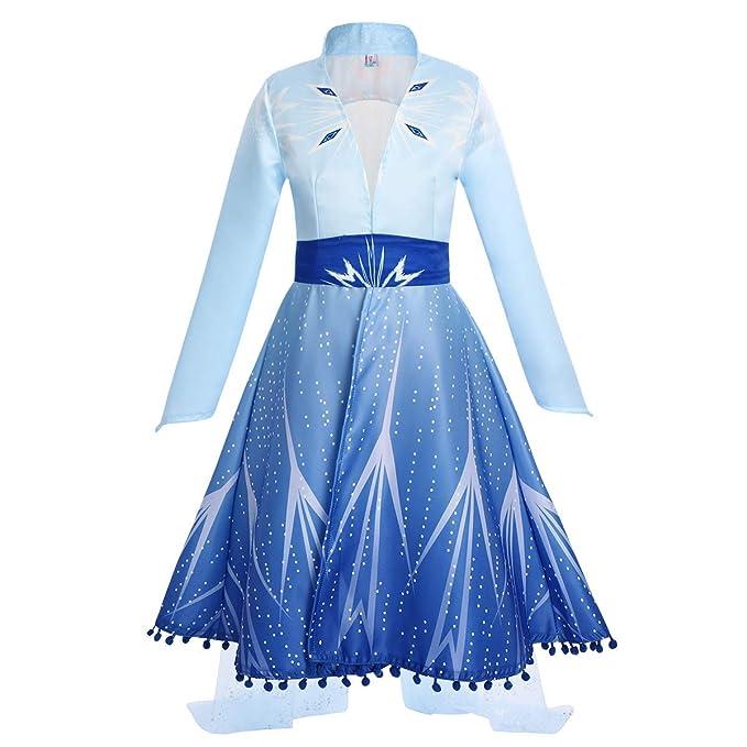 IWEMEK Disfraz Elsa Frozen 2 Vestido de Princesa con Abrigo ...