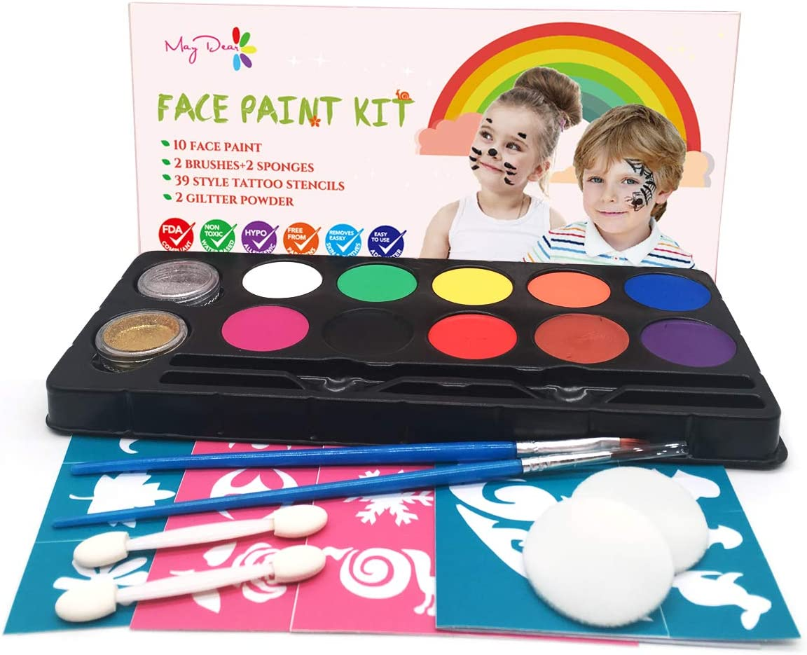 Maydear Face Paint Kit for Kids with Safe and None Toxic Water Based 10 Water Based Face Painting Colors+2 Glitters-Halloween Makeup Kit