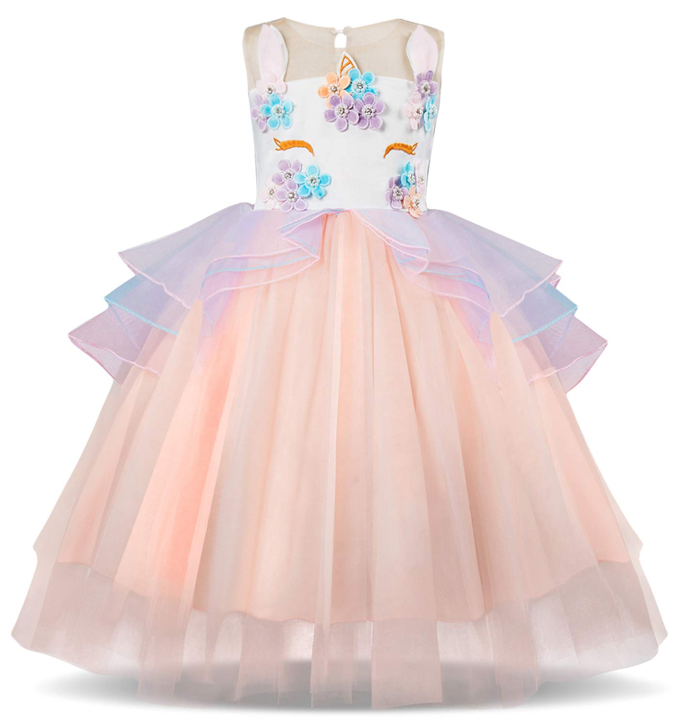 TTYAOVO Kids Unicorn Costume Dress Girl Princess Flower Pageant Party Tutu Dresses Size 5-6 Years Pink