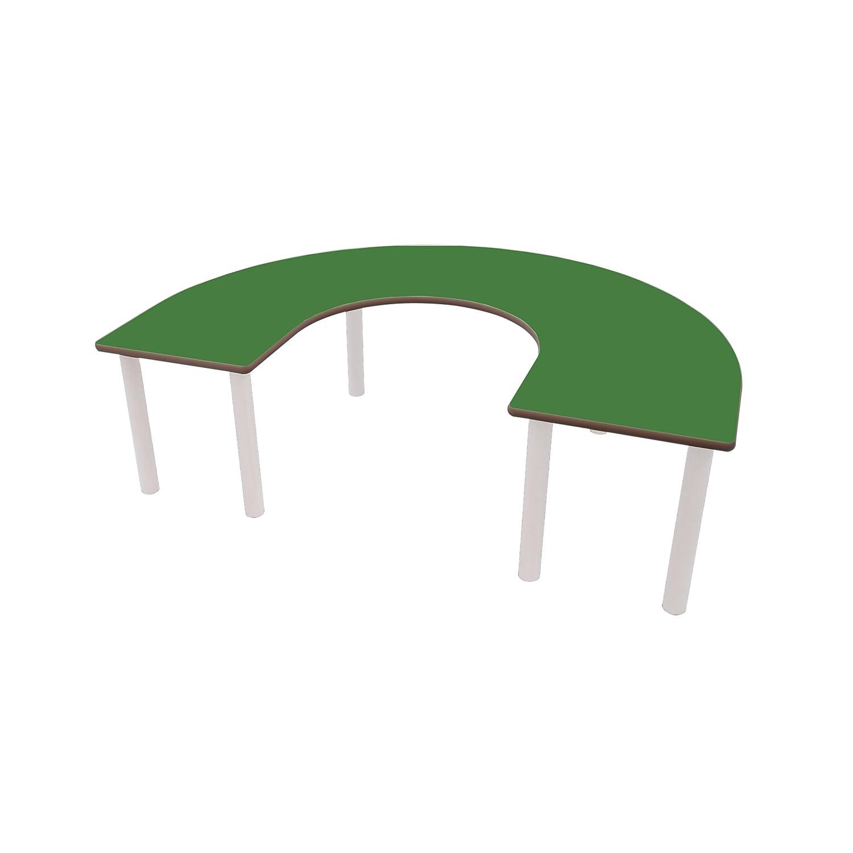 Mobeduc de los niños en Forma de U Mesa, Madera, Color Verde Oscuro, tamaño 6, 150 x 100 x 76 cm