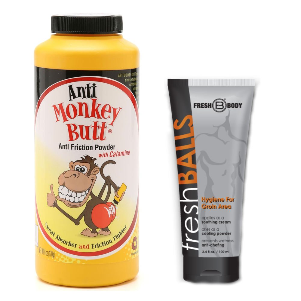 NO SWEAT BUNDLE! with Anti-Monkey Butt Powder 6 oz. and Fresh Balls Lotion 3.4 oz.