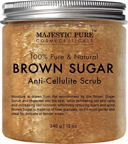 Majestic Pure Brown Sugar Scrub 12 oz - Natural Exfoliator and Powerful Body and Facial Scrub for Anti Cellulite Treatment, Stretch Marks, Acne, and Varicose Veins