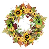 Northlight 24'' Autumn Mixed Leaf, Flowers, Pine Cones and Pumpkin Artificial Thanksgiving Wreath - Unlit