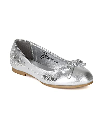 bae2d4692f27 Metallic Leatherette Floral Perforated Bow Tie Ballerina Flat (Toddler Little  Girl Big Girl