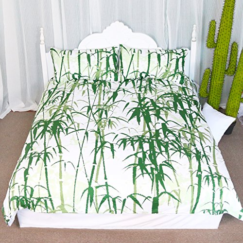 Bamboo Bedding 3 PCS Floral Prints of Green Bamboo Duvet Cover Set Inspired By Nature (Queen)