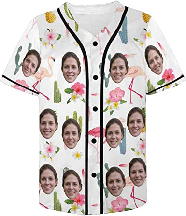 INTERESTPRINT Mens Button Down Baseball Jersey Flamingo Pineapple