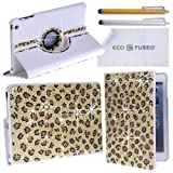 Eco-Fused Rotating Faux Leather Bling Case compatible with Apple iPad Mini 1 2 3 - including 2 Stylus Pens - 2 Screen Protectors - Microfiber Cleaning Cloth (Leopard)