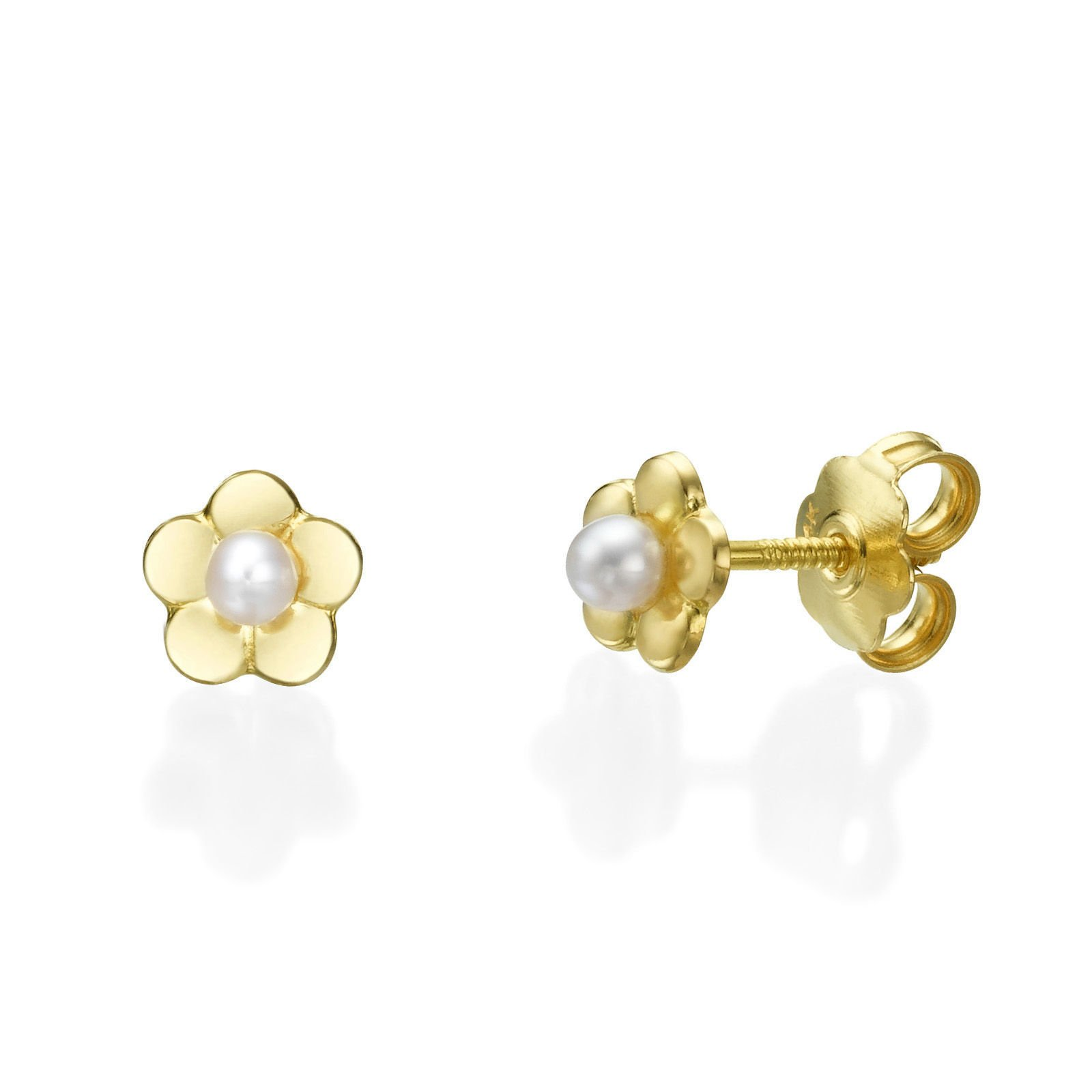 14K Fine Yellow Gold Pearls Flower Screw Back Stud Earrings for Baby Girls Gift Kids Children