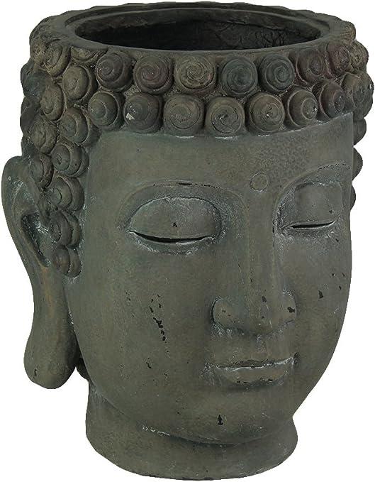 Macetas de cemento grande envejecido gris cemento Buda cabeza maceta 14 x 17 x 11 cm gris: Amazon.es: Jardín