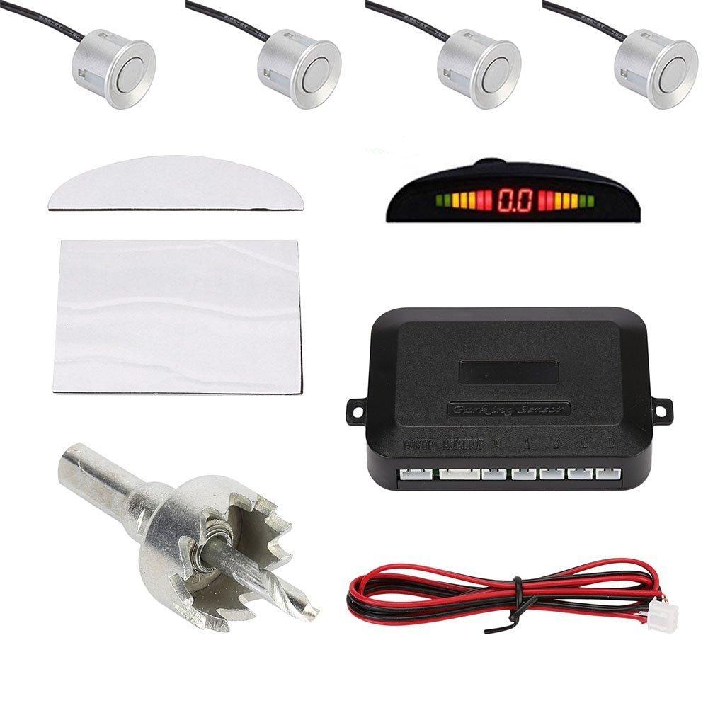 Besmall Radar Aparcamiento Sensor Alarma Acustica Indicador LUZ LED Marcha Atras Plateado