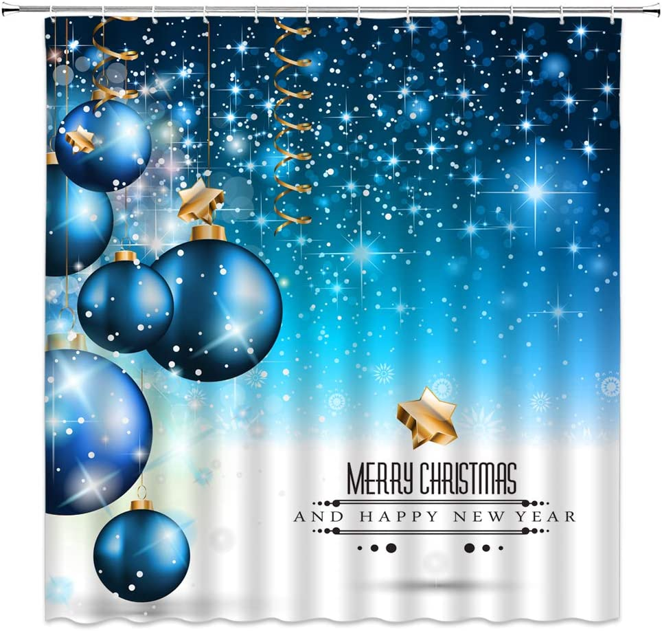 XZMAN Christmas Shower Curtain Blue Christmas Balls and Dream Background Merry Christmas Polyester Waterproof Bathroom Decor Set with Hooks,70 X 70 Inch