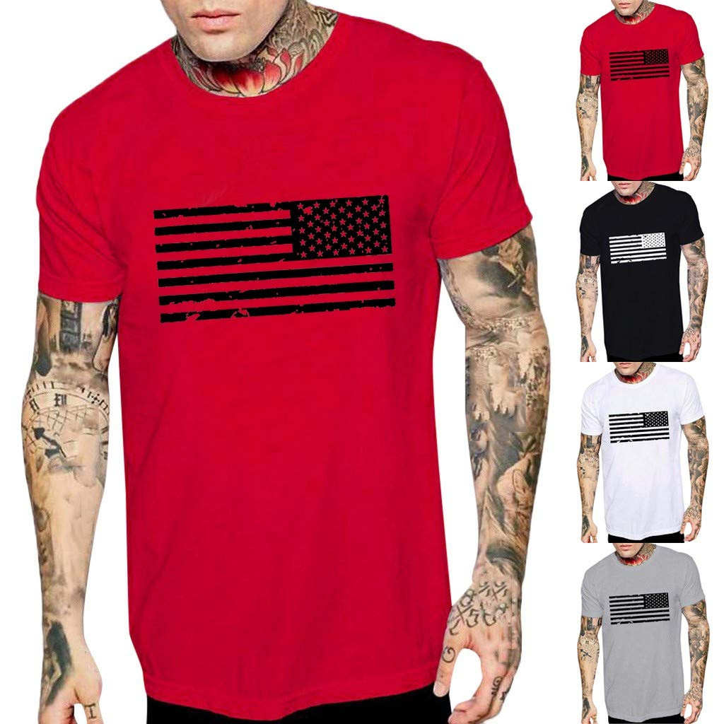 KLGDA Mens Hipster Hip-Hop Print Pullover Regular Fit Long//Short Sleeve Casual Crew Neck American Flag Tee Shirts