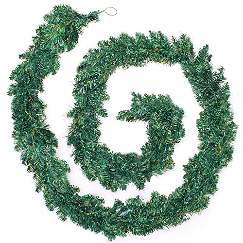 Hootech 9 Feet Christmas Garland Pine Artificial Decorations for Mantle Fireplace Indoor Outdoor Tinsel Ornaments XmasTree Decorations (Green) -