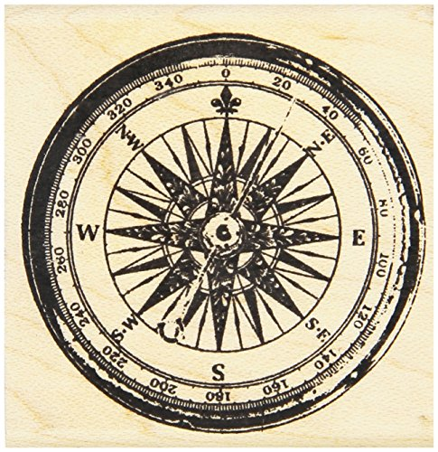 "Art Gone Wild Tim Holtz Mounted Red Rubber Stamp 2""X2"", Compass"