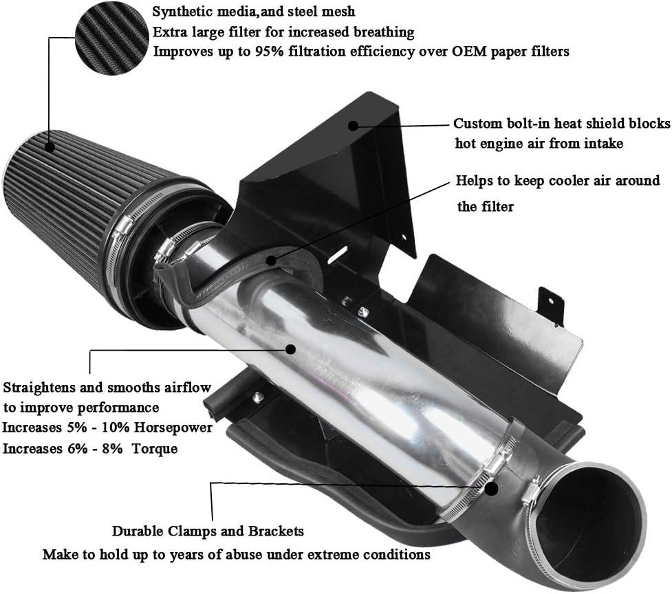 Silverado 1500//2500//3500 Black MooSun 4 Cold Air Intake System Heat Shield For 99-06 GMC//Chevy V8 4.8L//5.3L//6.0L
