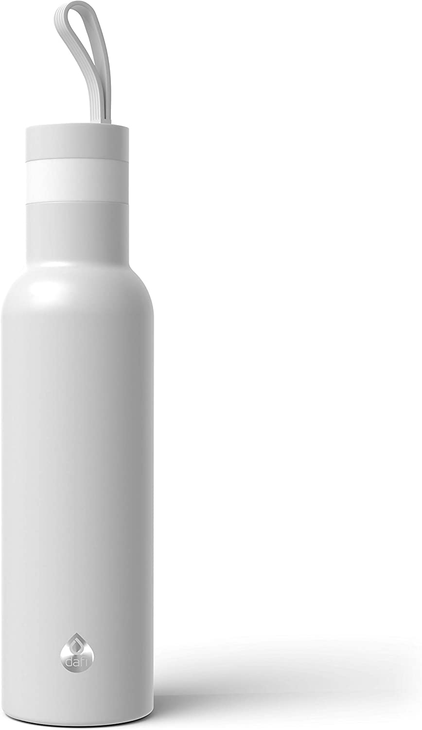 Dafi Double Wall Insulated Stainless Steel Thermal Bottle 17 fl oz Made in Europe BPA-Free (White)