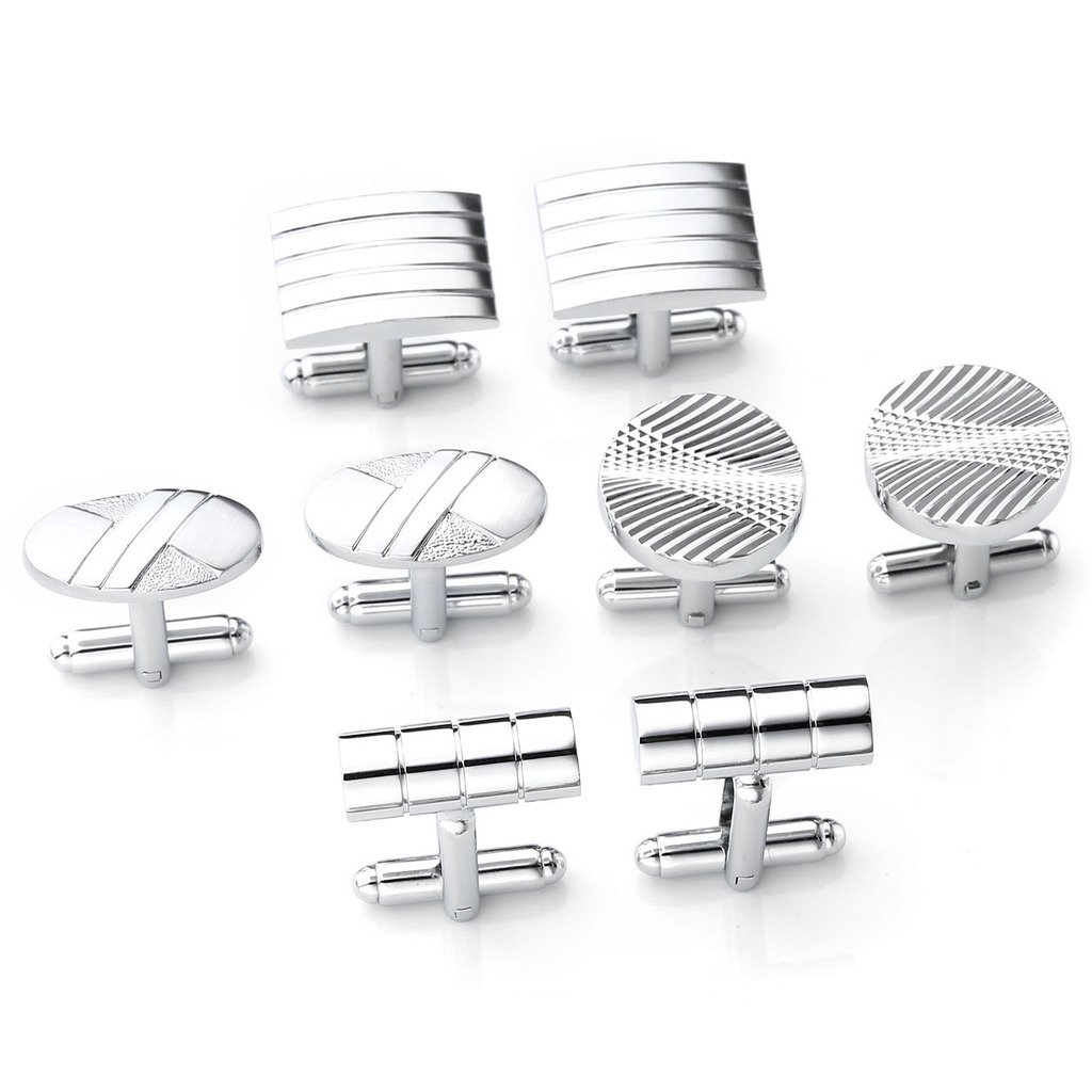 Zysta 4 Pairs Elegant Cufflinks Set Vintage Wedding Business Formal Dress Tuxedo Shirts Stainless Steel