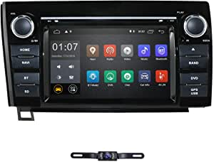 7 Inch Android 10 Touch Screen Car Stereo DVD Player in Dash GPS Navigation for 2007-2013 Toyota Tundra/ 2008-2013 Toyota Sequoia Support Bluetooth/WiFi Hotspots/4G/OBD2/DVR/AV-IN