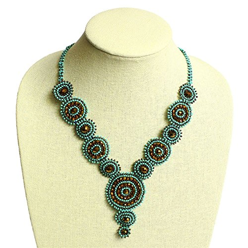 NE114 Turquoise Maya Necklace Canasta Design Crystal Glass Beads Floral Fine (Maya Turquoise Necklace)