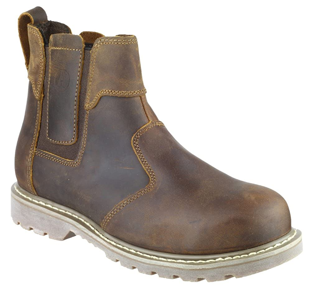 MENS SIZE 6 7 8 9 10 11 12 BROWN LEATHER SAFETY STEEL CAP DEALER SLIP ON BOOTS