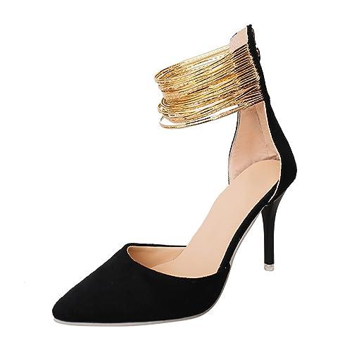 43baa7ceb92 Mofgr Women Sexy High Heels Shoes Gold Ankle Strap Pumps Dress Shoes Black  3.5