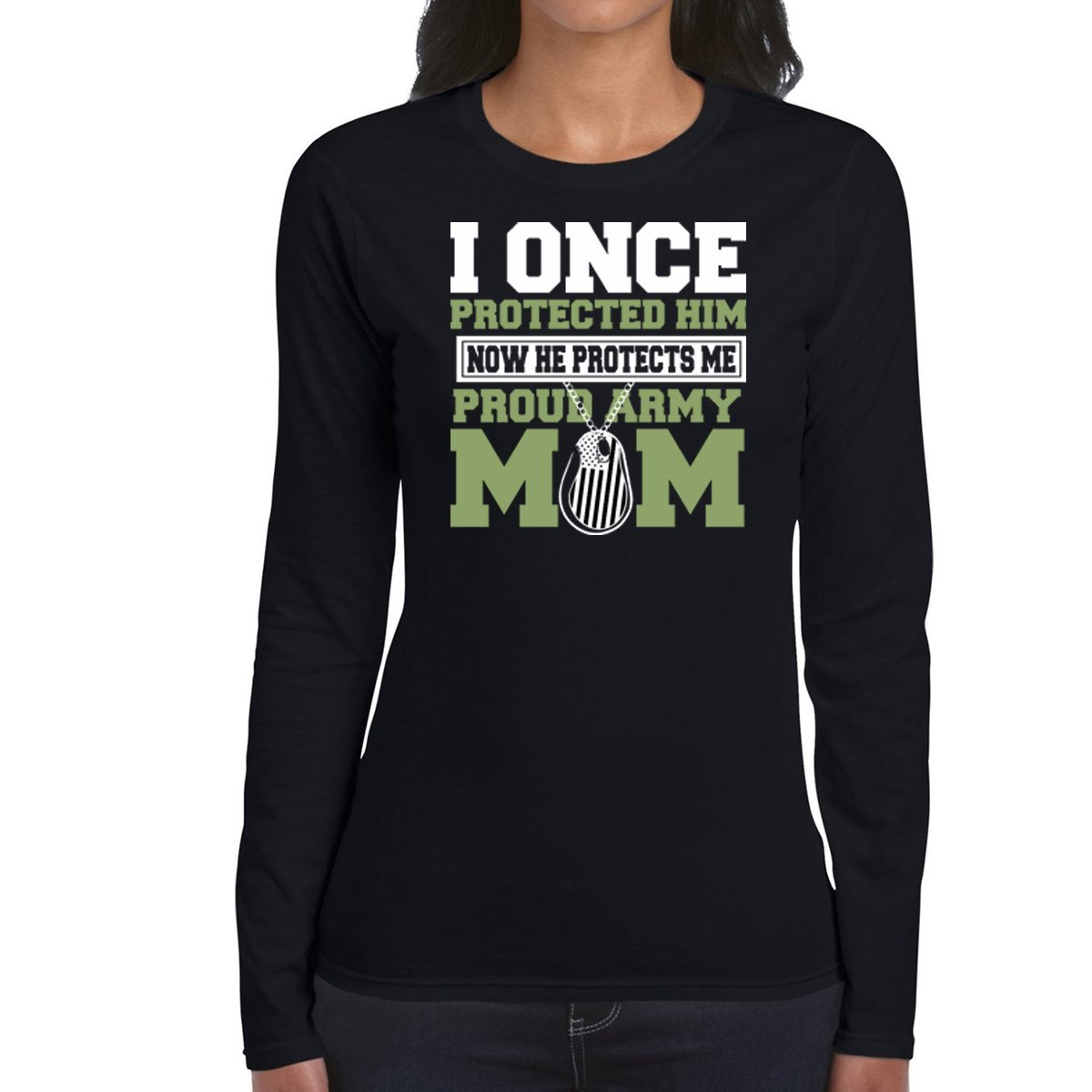 Amazon.com: AW Fashions I Once Protected him Now he Protects me Proud Army mom - Womens Long Sleeve Tee: Clothing