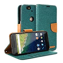 Nexus 6P Case, GMYLE Wallet Case Classic for Google Huawei Nexus 6P - Dark Green & Brown PU Leather Slim Stand Case Cover