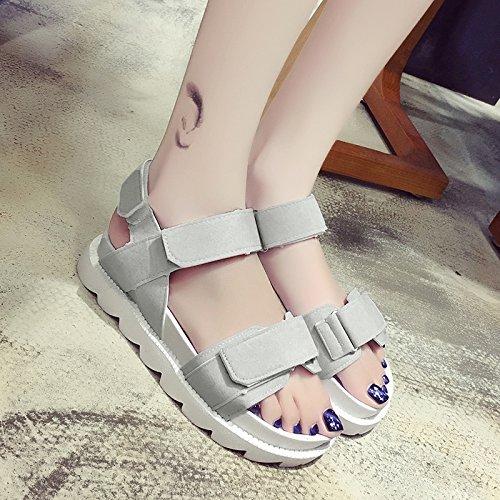 RUGAI-UE Sandalias planas de verano ocio Zapatos de punta plana Gray