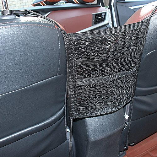 (AndyGo 3 Layer Cargo Net Organizer Seat Back Net Bag Cargo Tissue Purse Holder Driver Storage Netting Pouch)